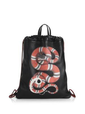 ad59eac05be5 Gucci Kingsnake Leather Drawstring Backpack - Black In 8709 Black ...