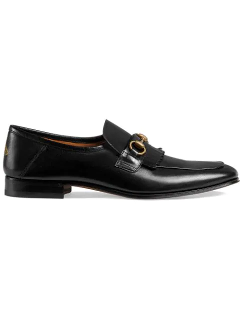 Gucci Harbor Horsebit Fringed Leather Loafers In Black