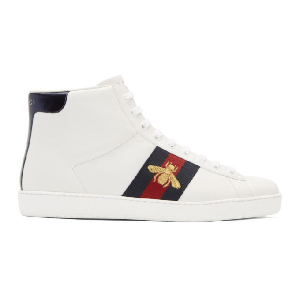Gucci Ace Bee-Embroidered High-Top Leather Trainers In White