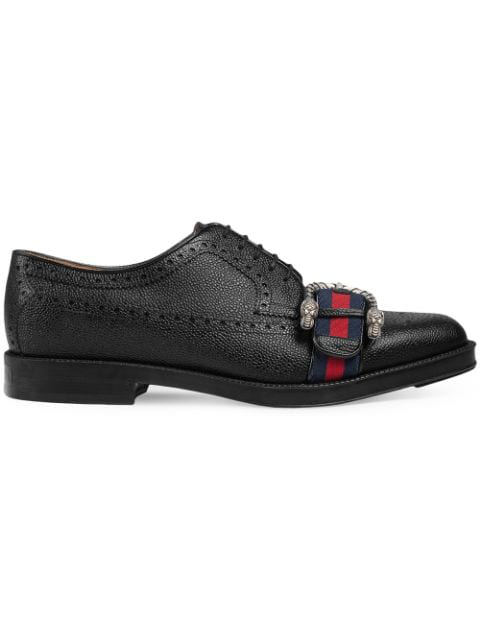 Gucci Leather Brogue Shoe With Web In 1160 Black