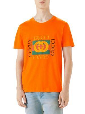bbbb38915 Gucci Logo Print Tee In Orange | ModeSens