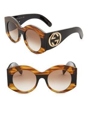 90d97d1a40b95 Gucci Tortoise Shell Striped Round Sunglasses In Havana Brown