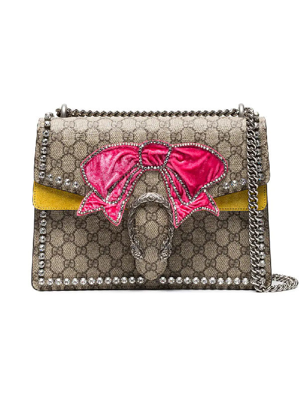 d86f104e185ea8 Gucci Dionysus Medium Gg Supreme Canvas Shoulder Bag With Crystal Bow In  Yellow