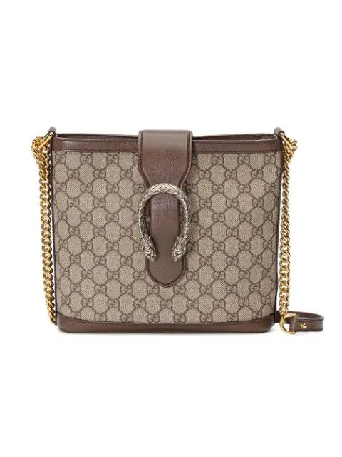 Gucci Medium Dionysus Supreme Canvas Shoulder Bag Beige In Neutrals
