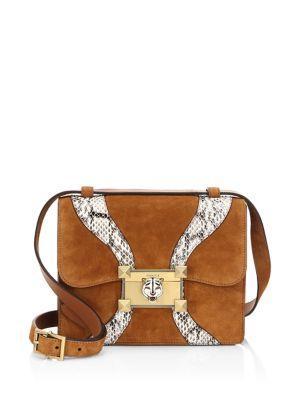 18e4feac2fb Gucci Osiride Suede   Genuine Snakeskin Shoulder Bag - Brown In Bright  Cuir  Roccia