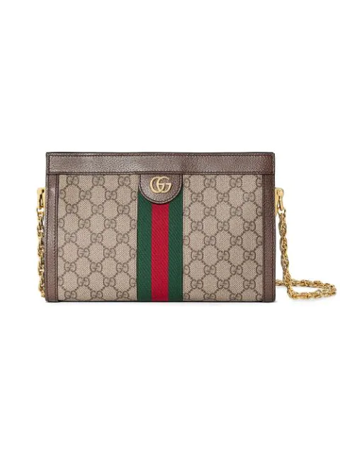 Gucci Ophidia Textured Leather-Trimmed Printed Coated-Canvas Shoulder Bag In Neutrals