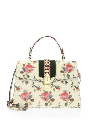 77e0616d5 Gucci Sylvie Medium Floral Leather Top-Handle Satchel Bag In Neutrals