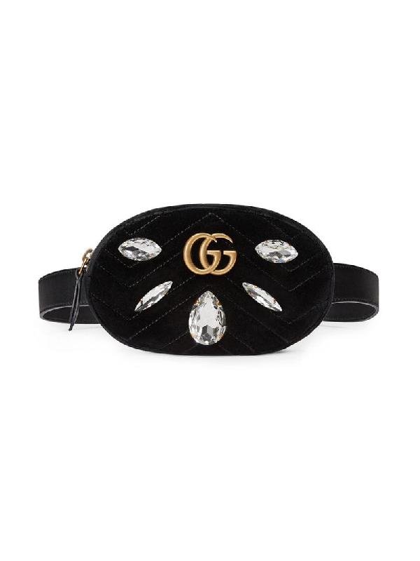 Gucci Marmont 2.0 Crystal & Velvet Belt Bag - Black In Eero