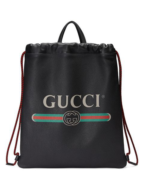 bbe735720818 Gucci Logo Leather Drawstring Backpack - Black In 8163 Black   ModeSens