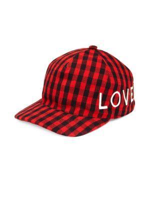 abbe647e27e Gucci Loved Check Flannel Baseball Hat In Black Poppy Red