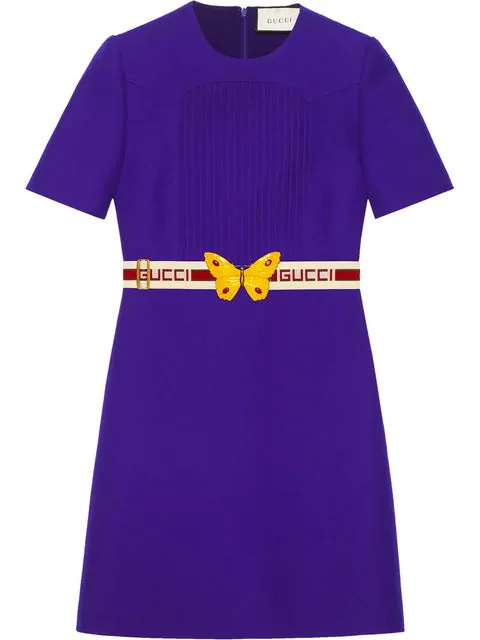 dc38c5051 Gucci Belted Wool & Silk Crepe Cady Dress In 5076 Viola | ModeSens