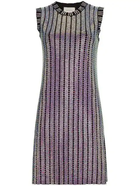 Gucci Crystal Embroidered Ribbed Knit Dress In Black