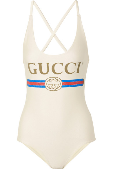 0d7c270f366fc Gucci V-Neck Logo Swimsuit In Ivory In Ivory Multi | ModeSens