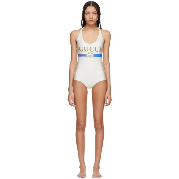 Gucci V-neck Logo Swimsuit In Ivory