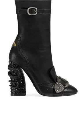 fa1347f4c24 Gucci Women s Queercore Leather   Crystal Snake Block Heel Booties In Black