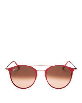 6caed41b19ad9 Ray Ban Ray-Ban Unisex Highstreet Brow Bar Round Sunglasses