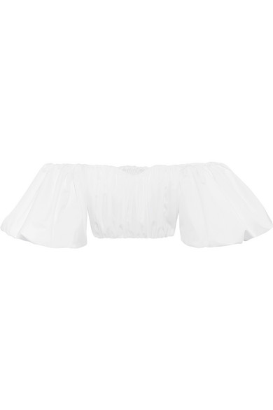 Ellery Bachelorette Cropped Off-the-shoulder Cotton-poplin Top In White