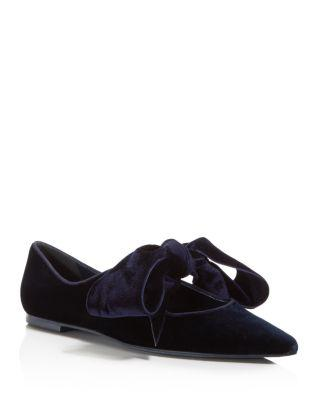 0a8fbcac80d0 Tory Burch Clara Velvet Flats With Oversized Bow In Blue Notte ...