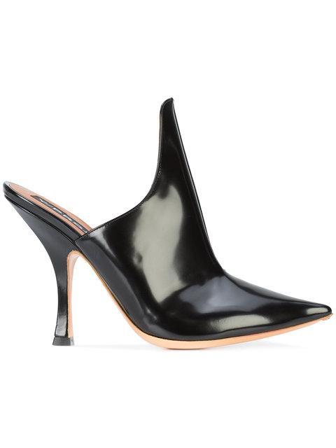 ffa786db7112 Y Project Y Project Leather Stefania Mules In Black. Farfetch