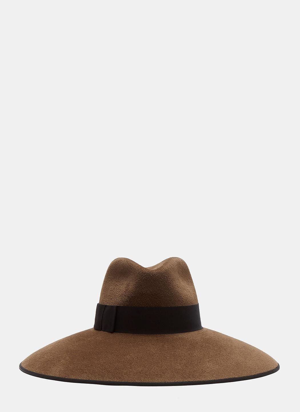 93bf20efc Zama Felted Wide Brim Hat In Taupe in Brown