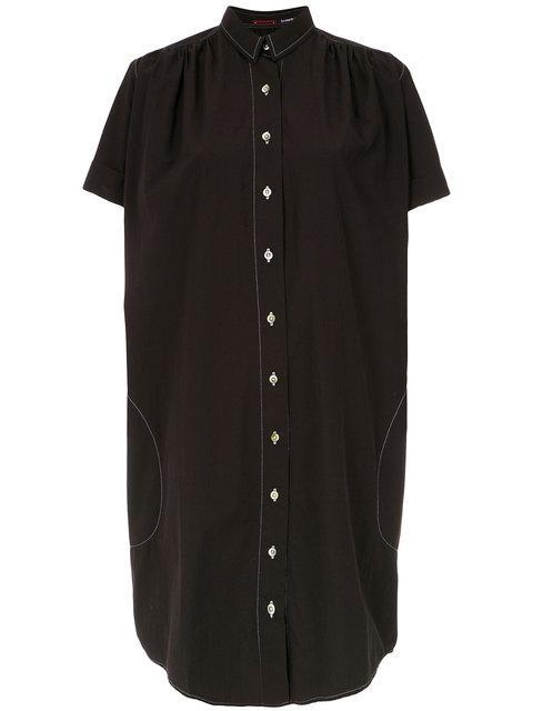 À La GarÇOnne Stitched Details Shirt Dress - Black