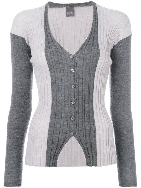 Lorena Antoniazzi Ribbed V In Grey