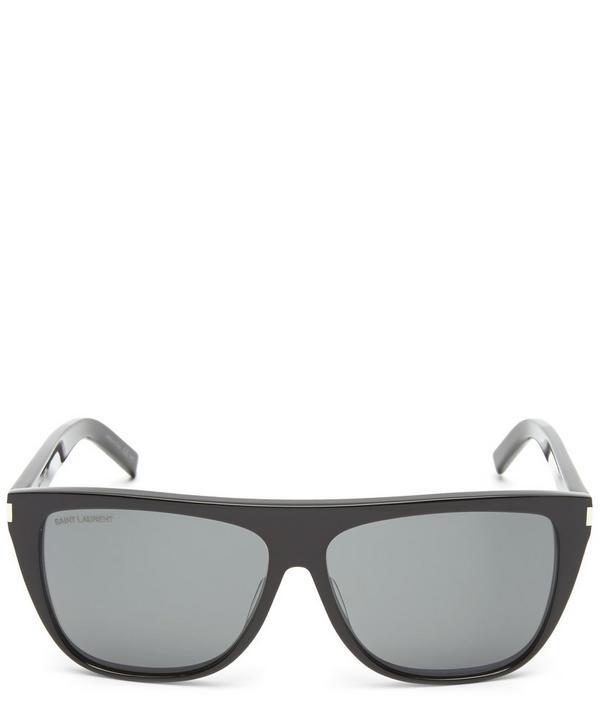 Saint Laurent Squared Flat Top Sunglasses In Black
