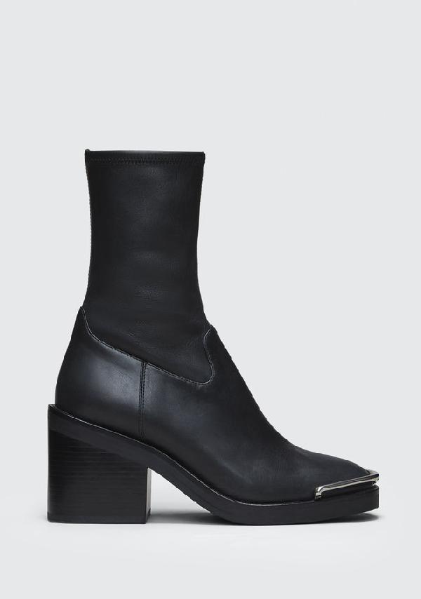 Alexander Wang Hailey Mid Sock Heel Boots In Black