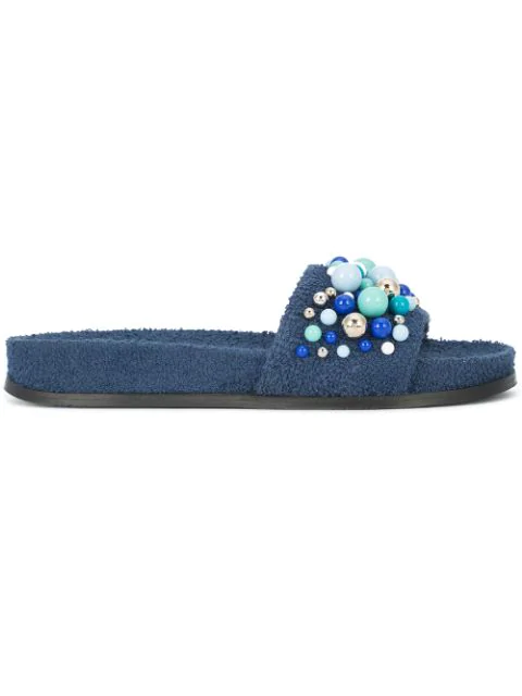 Aquazzura Bon Bon Embellished Terry-towelling Slides In Navy