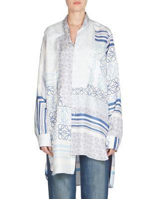 Loewe Asymmetrical Printed Silk Satin Shirt In Blue-white