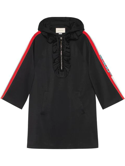 933d468b254 Gucci Hooded Jersey Dress W  Logo Sleeve Bands In Black