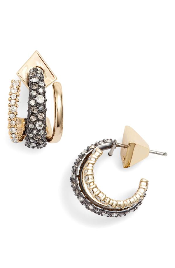 Alexis Bittar Floating Orbit Hoop Earrings In Gold