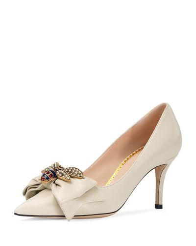 6ca4589be99b Gucci 75Mm Queen Margaret Leather Pump In White