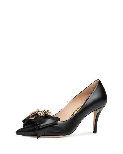 1c4fd98a4b2 Gucci Queen Margaret Bee Bow Pointy Toe Pump In Black