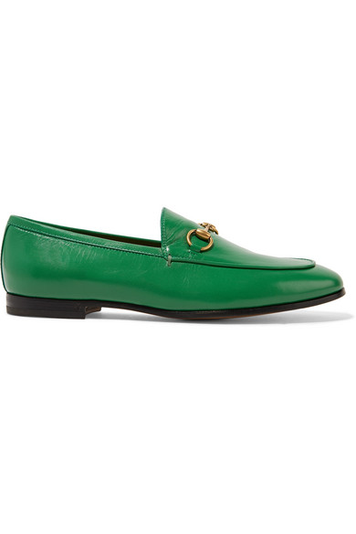 0c37e773cd4 Gucci Jordaan Horsebit-Detailed Leather Loafers In Green