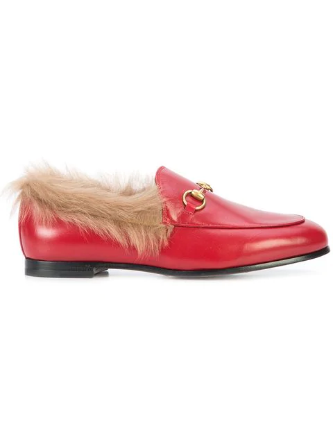 Gucci Women's Jordaan Leather & Lamb Fur Loafers In Red