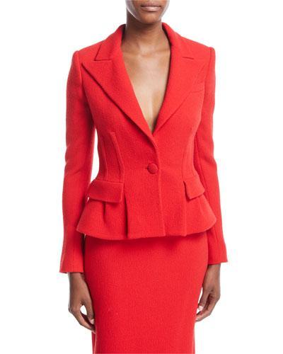 Oscar De La Renta Virgin Wool Peplum Blazer Jacket In Scarlet