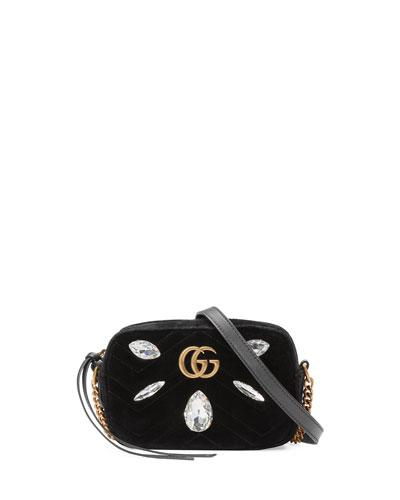df710afe4 GG MARMONT MINI MATELASSÉ VELVET CAMERA BAG. Gucci matelass velvet  camera bag with marquise crystal ...