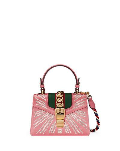 f002b5ae510 Gucci Mini Sylvie Crystal Burst Top Handle Leather Shoulder Bag - Pink
