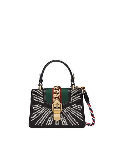 bb6c1be2c8b Gucci Mini Sylvie Crystal Burst Top Handle Leather Shoulder Bag - Black