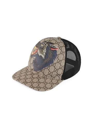 836b80a87e4a92 Gucci Printed Coated-Canvas And Mesh Baseball Cap In Brown