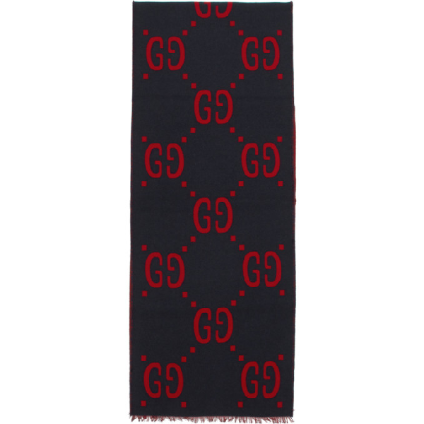 Gucci Fringed Logo-Jacquard Brushed Wool And Silk-Blend Scarf In 4074 Blue