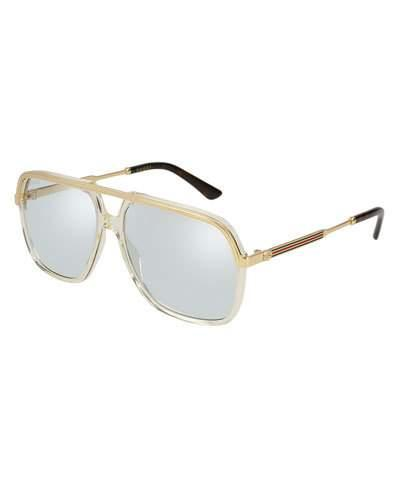 fe26dc310 Gucci Vintage Web Brow Bar Aviator Sunglasses, 56Mm In Yellow/ Endura Gold