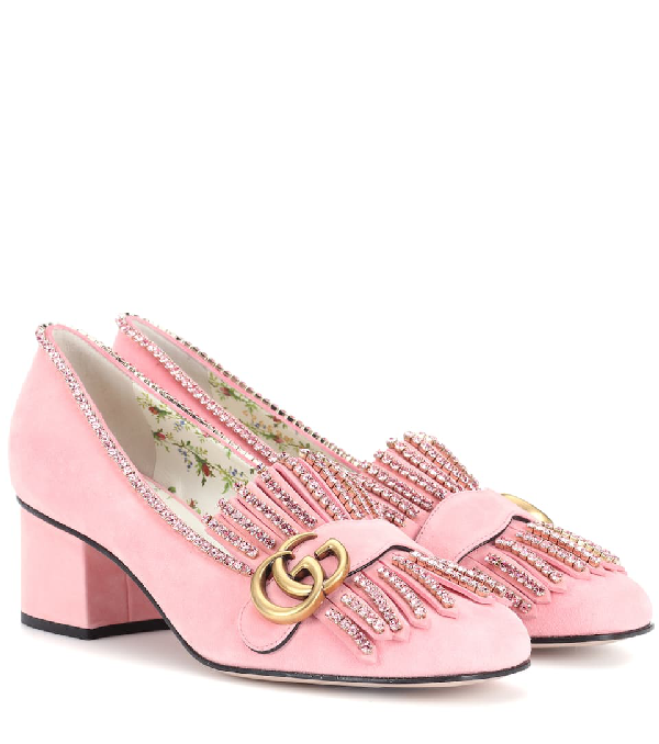 Gucci Gg Marmont Crystal Embellished Pump In Pink