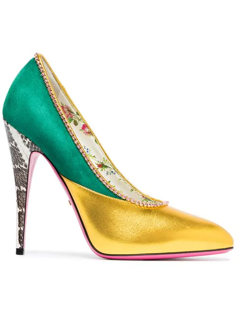 Gucci Women's Peachy Embellished Leather & Suede Pumps In Green
