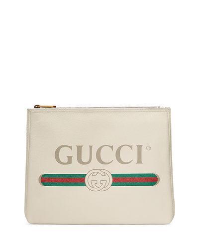 952e79a992d Gucci Print Leather Medium Pouch Clutch Bag In White