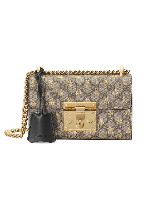 eebbc98e0b7cf1 Gucci Padlock Small Gg Supreme Bees Shoulder Bag In Neutrals | ModeSens