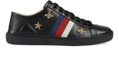 Gucci Women's New Ace Embroidered Leather Sneakers In Black