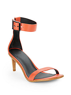 Tibi Ivy Leather Sandals In Mandarin