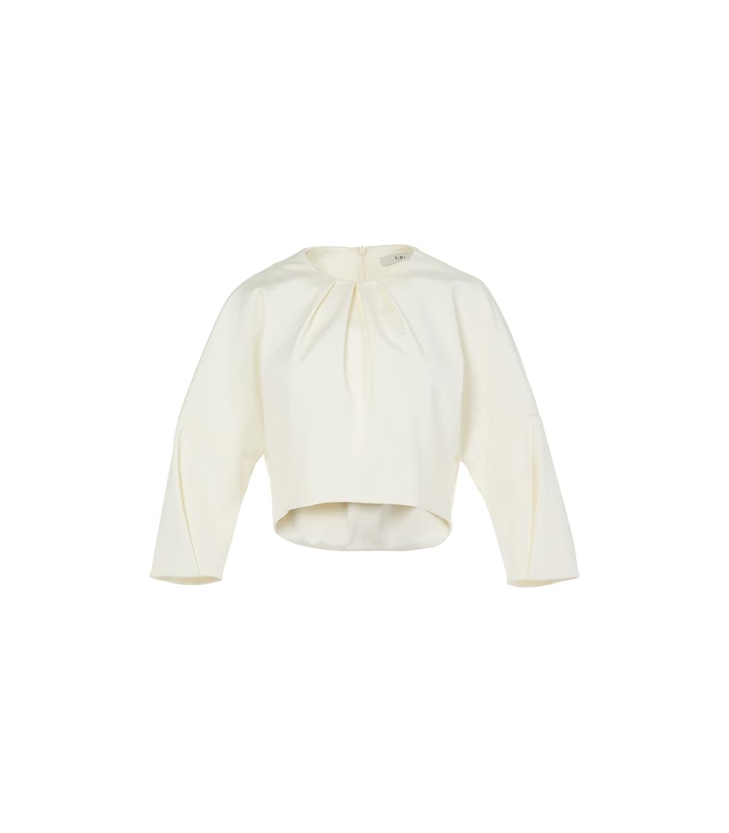 Tibi Ivory Stretch Faille Sculpted Top